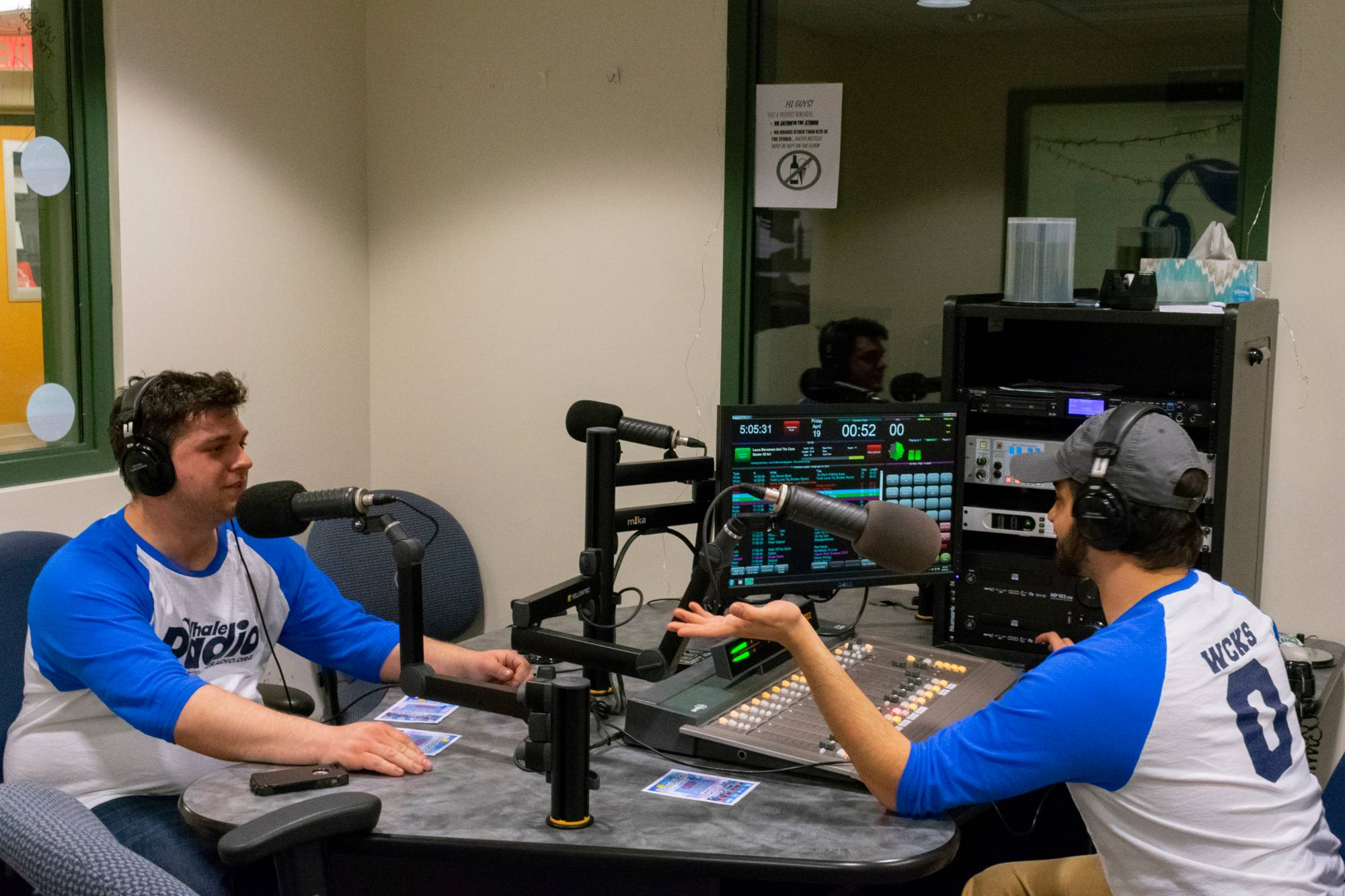 Two Students talking in a Radio Studio